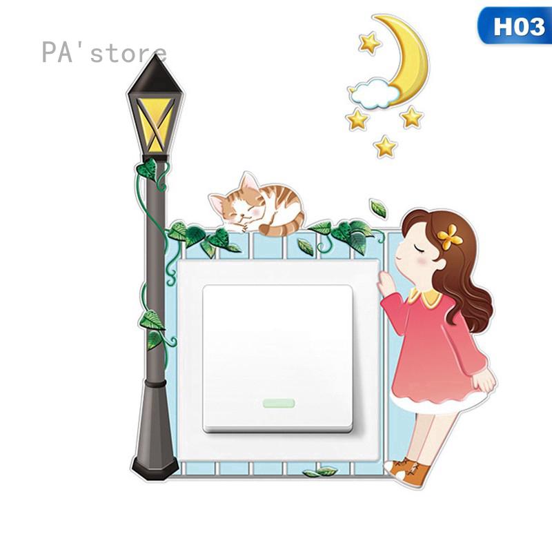 Bahan Gambar Lampu Animasi Pa Store Stiker Dinding Dengan Bahan Silikon Dan Gambar Kartun Untuk Saklar Lampu Shopee Indonesia