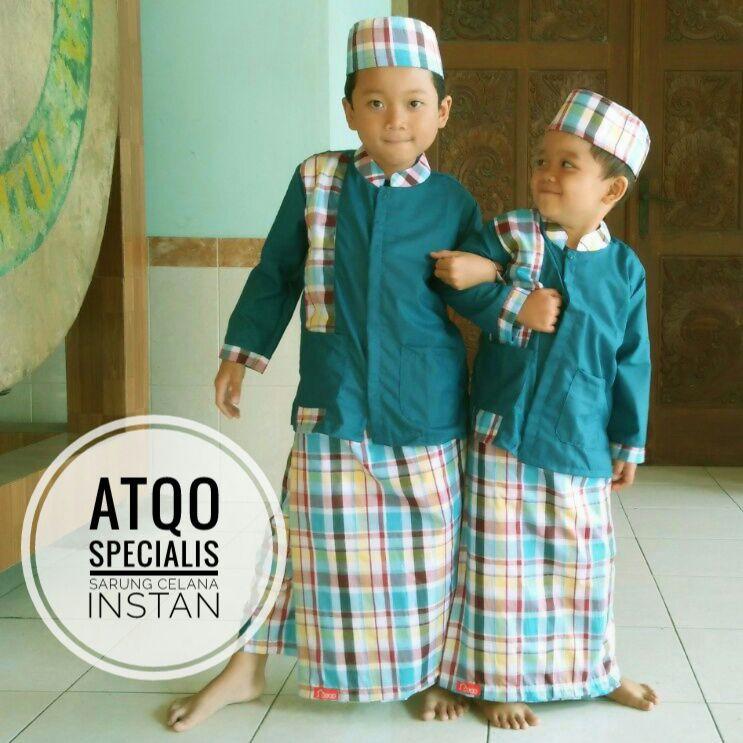 PROMO - Sarung Celana Instan + Baju Koko + Peci Anak Muslim | Shopee Indonesia
