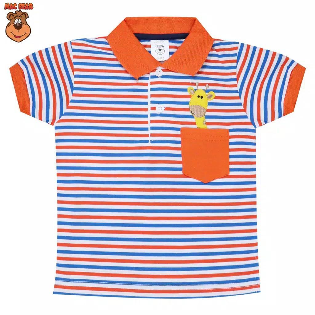 MacBear Junior Baju Anak Atasan Hello Polo MacPerry Orange & Navy | Shopee Indonesia