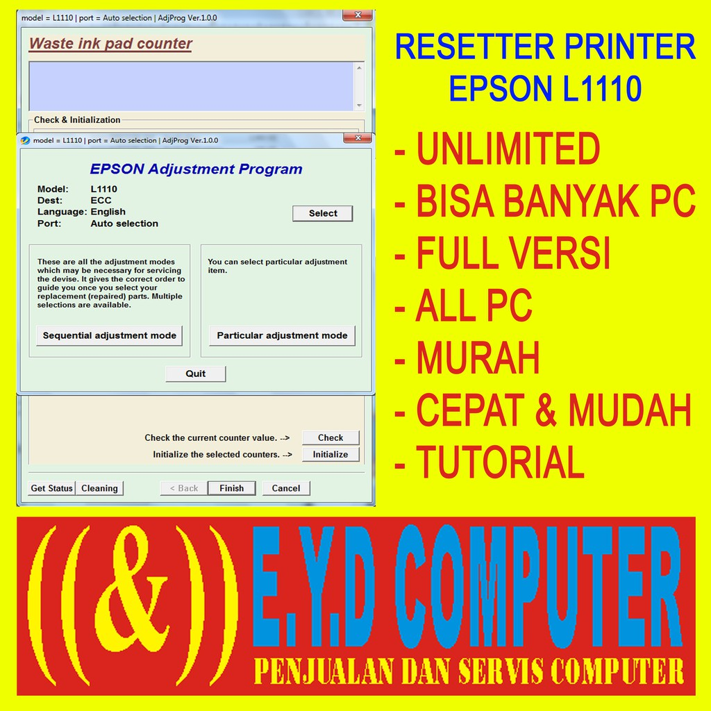 Resseter Epson L1110 Unlimited Banyak Pc Resetter All Pc Reset Reseter Printer Print Software Shopee Indonesia