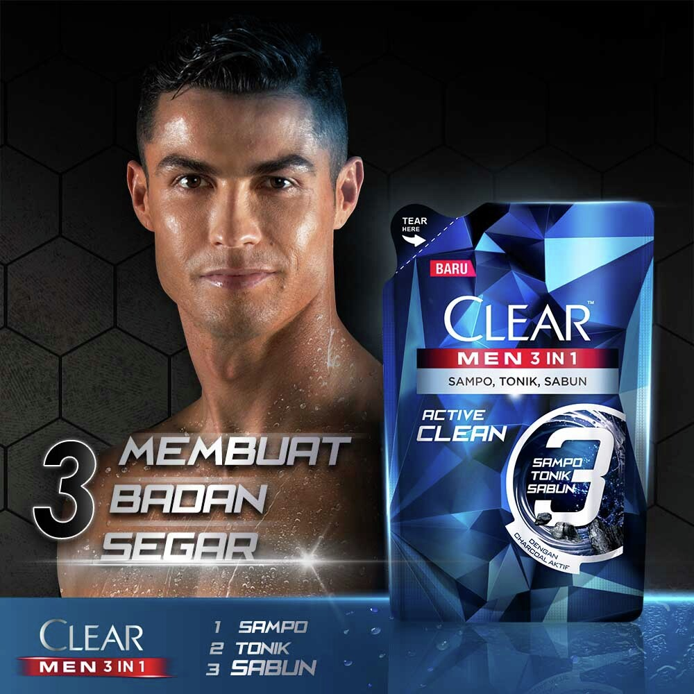 Clear Men 3-In-1 Shampo Active Clean Bottle 280ml-5