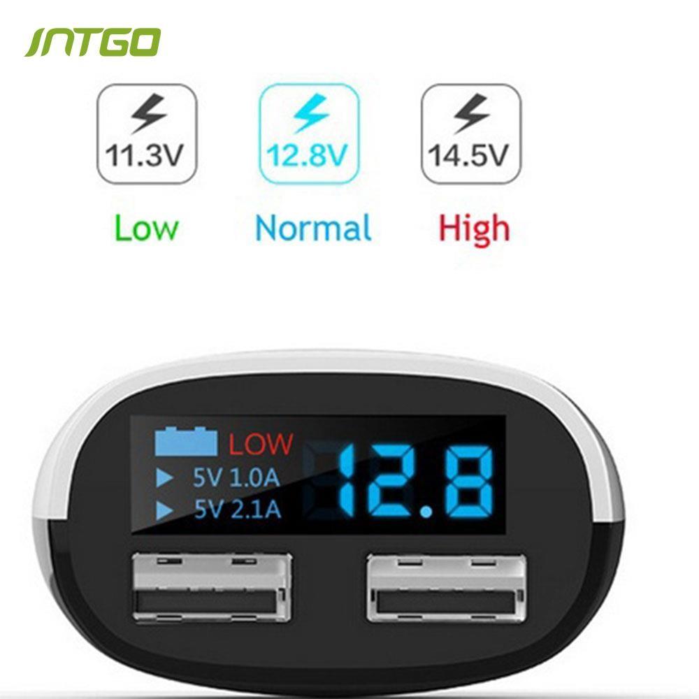 Charger Mobil Dengan 2 Port Usb Lighter Layar Voltmeter Lcd Car Digital Led Dan Indikator Temperatur Shopee Indonesia