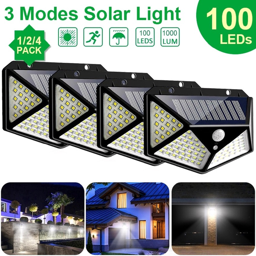 3 Mode Lampu Taman Tenaga Surya 100led Sensor Light Led Solar Lamp 4 Pack Shopee Indonesia