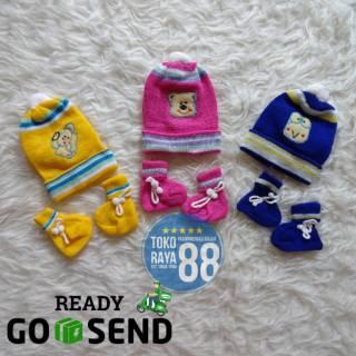 Set Topi Kupluk + Sepatu Rajut Bayi Newborn 0 - 3 Bulan Merek Saffenda, Lucu, Murah, Berkualitas
