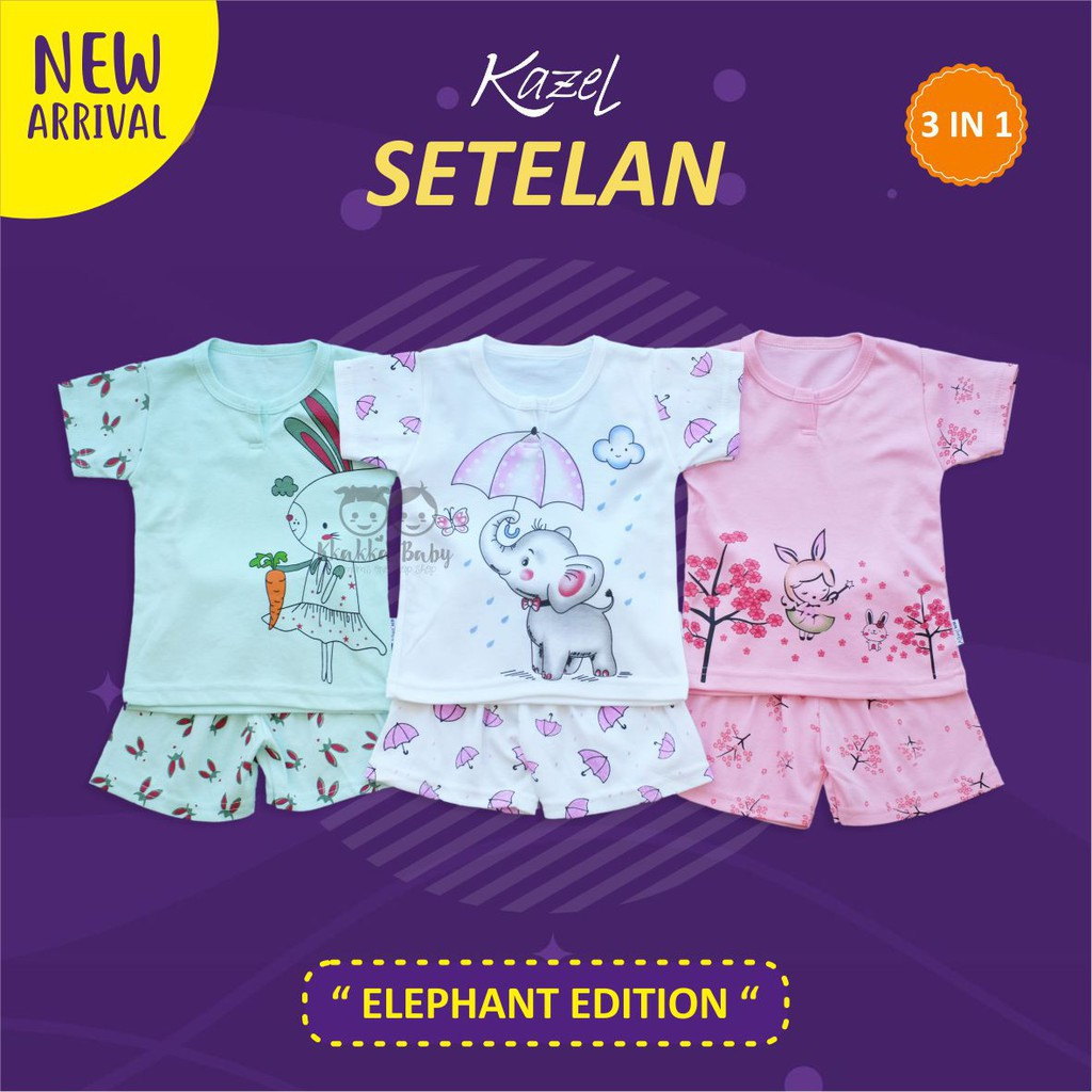 Kazel Set Setelan Pendek Elephant Edition For Girls Shopee Indonesia 3 Piyama Girl M L 2 4 Tahun