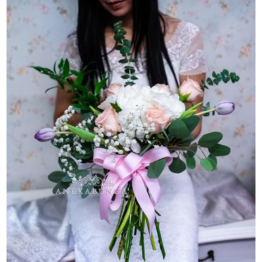 Buket Pernikahan Bunga Mawar Asli Fresh Wedding Rose Flower Hand Bouquet Bucket Pengantin Perkawinan Shopee Indonesia