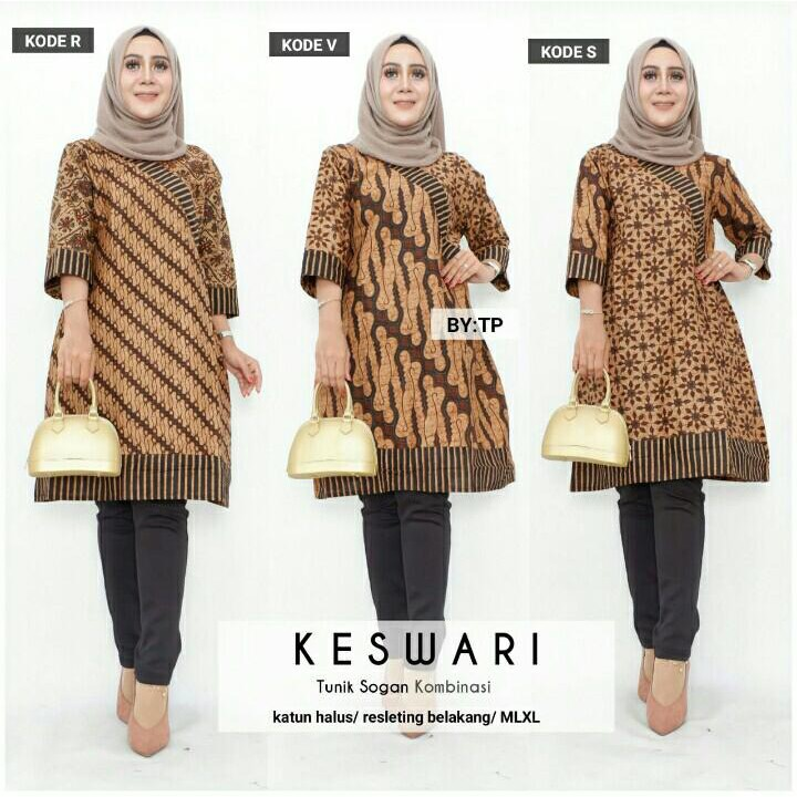 Batik Wanita Motif Keswari Dress Tunik Sogan Kombinasi Katun Resleting Cewek Modern Premium