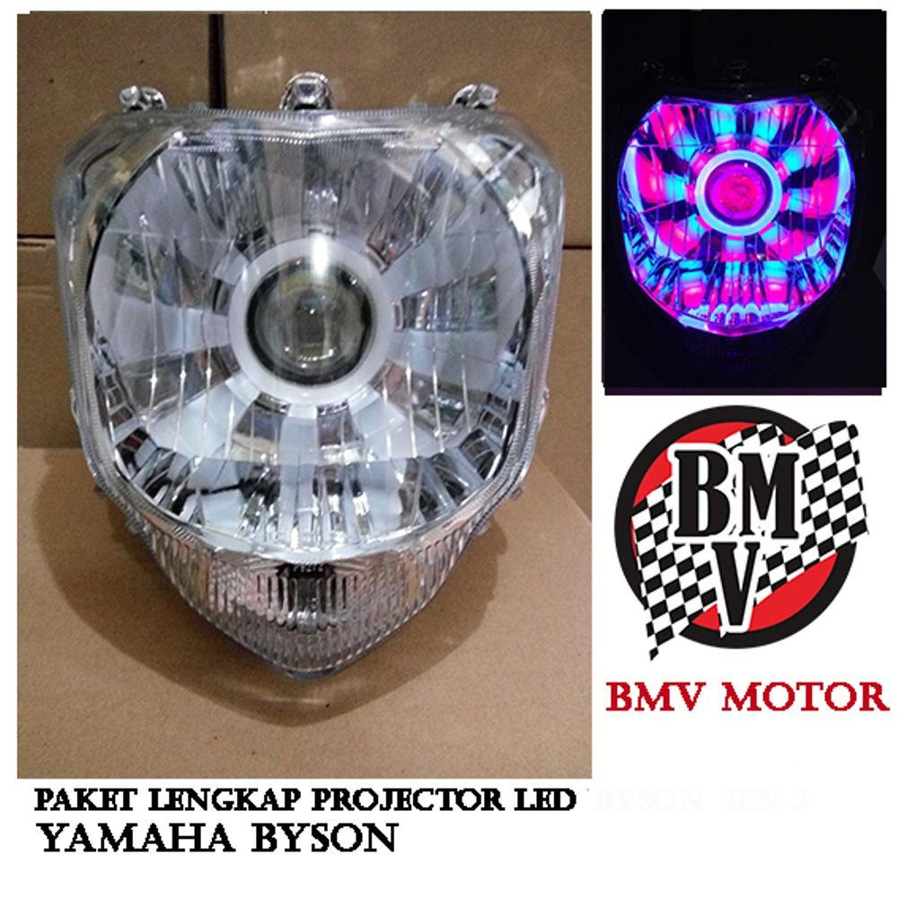 Paket Projector Led Plus Reflektor Lampu Depan Motor Byson - Led Projie Byson