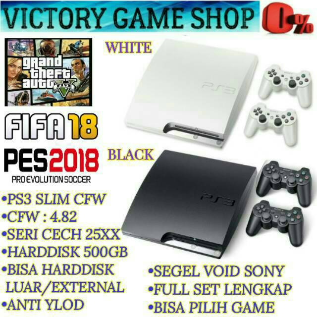 PS 3 PS3 SLIM 320GB CFW SERI 25XX + 2 STICK WIRELESS + FULL GAME (