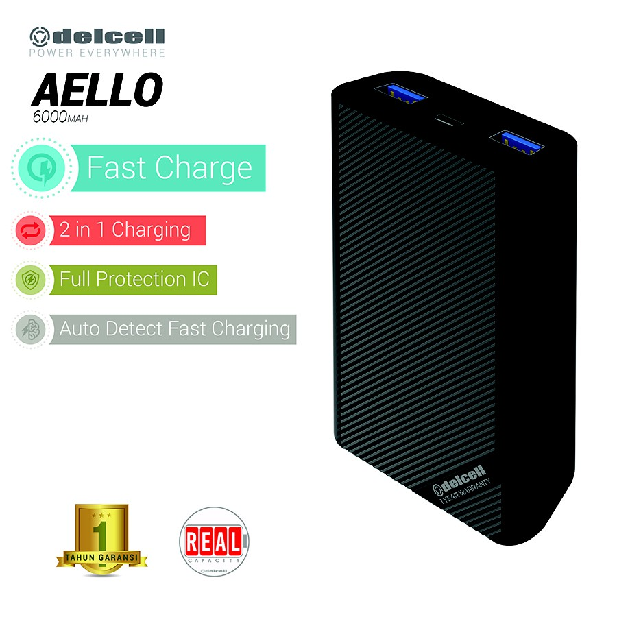 Delcell MUSTANG Powerbank 16.000mAh Real Capacity Polymer Battery | Shopee Indonesia