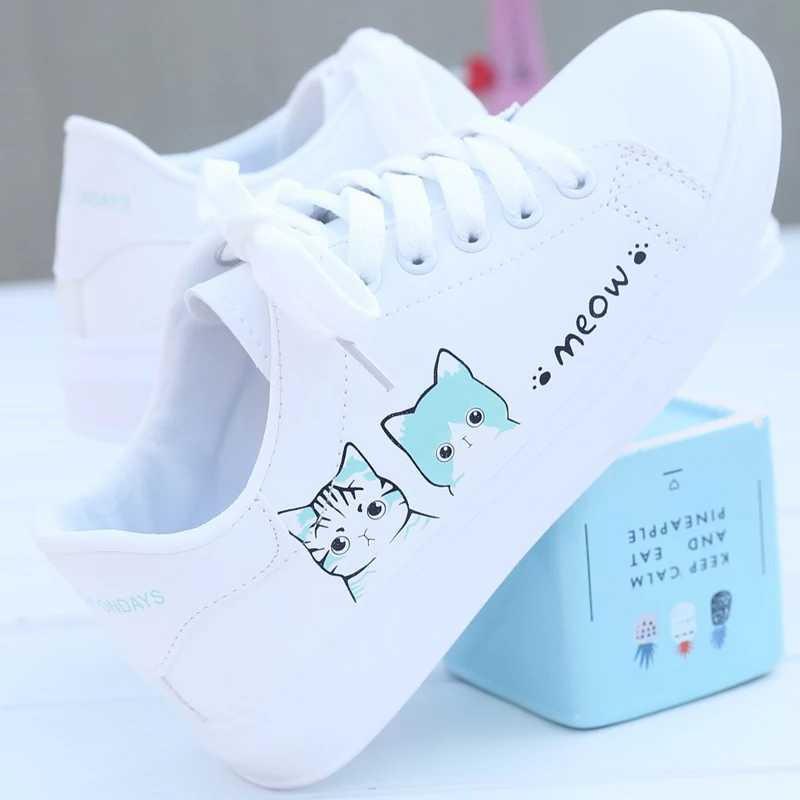 Sepatu Sneakers Cewek Putih Super Cute Meow Kitty Cats Lucu Imut