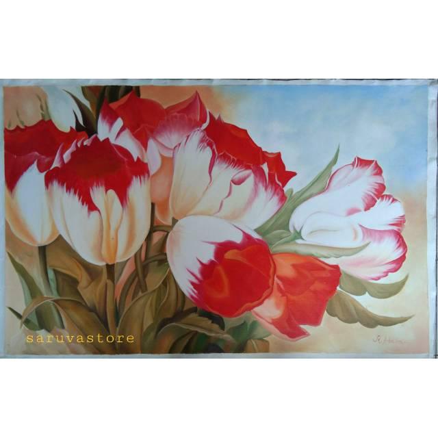 Lukisan Bunga Tulip Kunvup Merah 135x85cm Shopee Indonesia