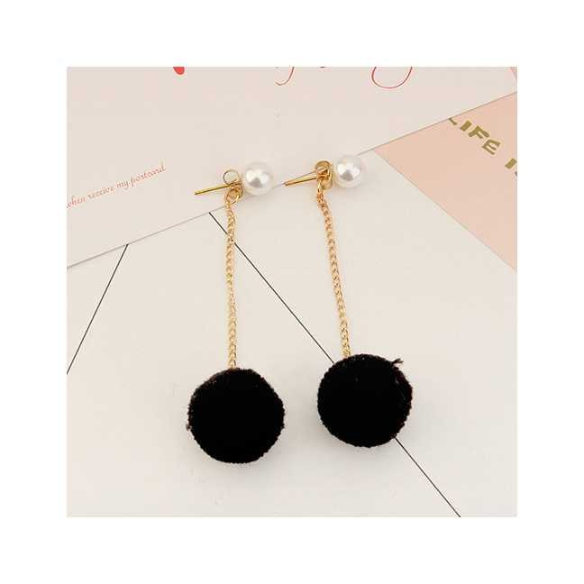 ... Pure Color Simple Earrings. Source · LRC Anting Tusuk Sweet Fuzzy Ball & Pearls Decorated Pom Earrings | Shopee Indonesia