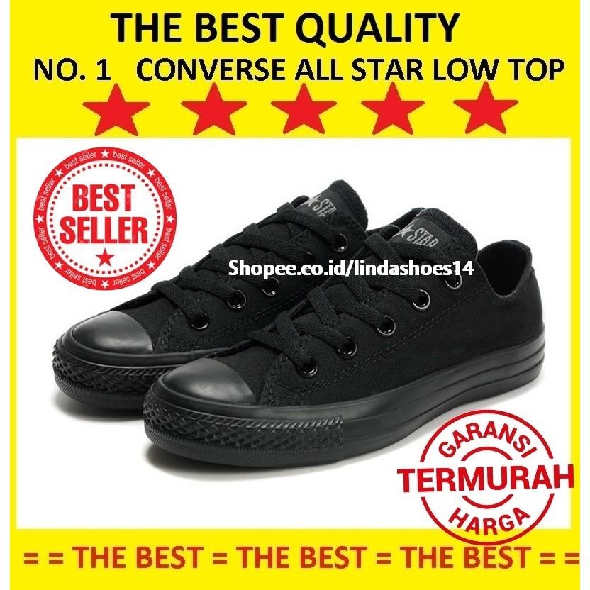 f4d1714916e LS14 ® -【BISA COD】Sepatu Converse All Star Chuck Taylor 2 Lunarlon All Full  Mono Black Hitam