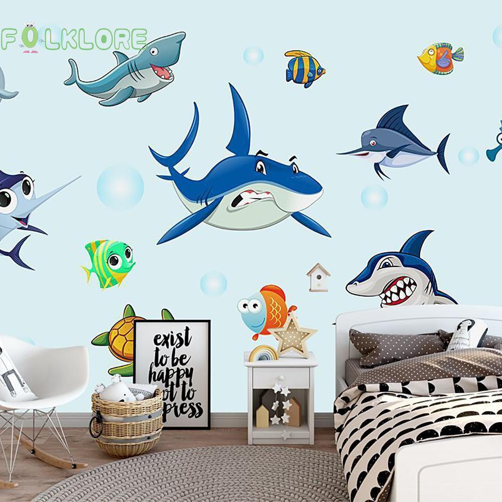 Stiker Dinding DIY Gambar Kartun Bawah Laut 3D Anti Air