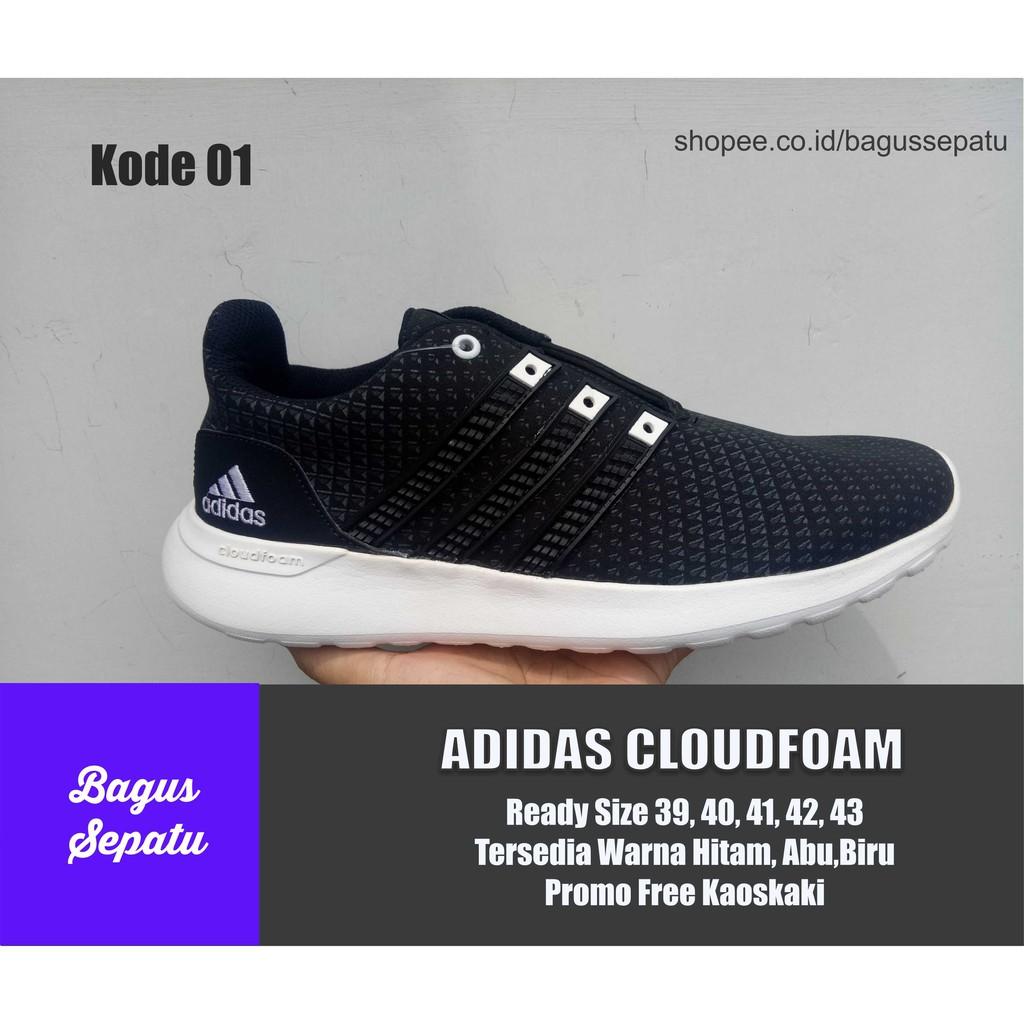 Sepatu Pria Adidas Neo Original Cloudfoam Super Black White Made In Indonesia Shopee