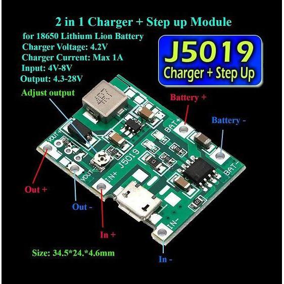 Modul Charger Baterai 18650 Tp4056 + Step Up Regulator Boost 2A Bb-64D Kode 578