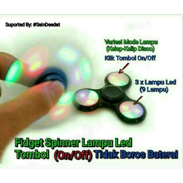 Fidget Spinner Chrome LED 3 Mode Flash Hand Spinner Lampu LED Bagus Murah   Shopee Indonesia
