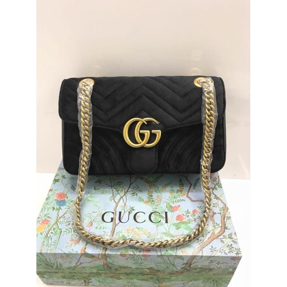 e71d15e74a64 Tas Gucci GG Marmont Velvet Embroidered Medium BIRU DONGKER MODERN Mirror  443496 | Shopee Indonesia
