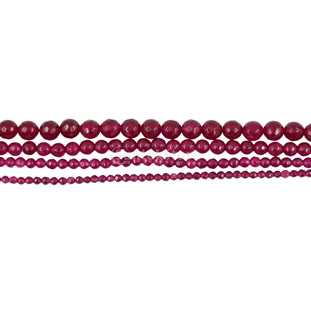 Round Faceted Pink Coral Stone Beads For Jewellery Making Loose Beads Strand 15/""