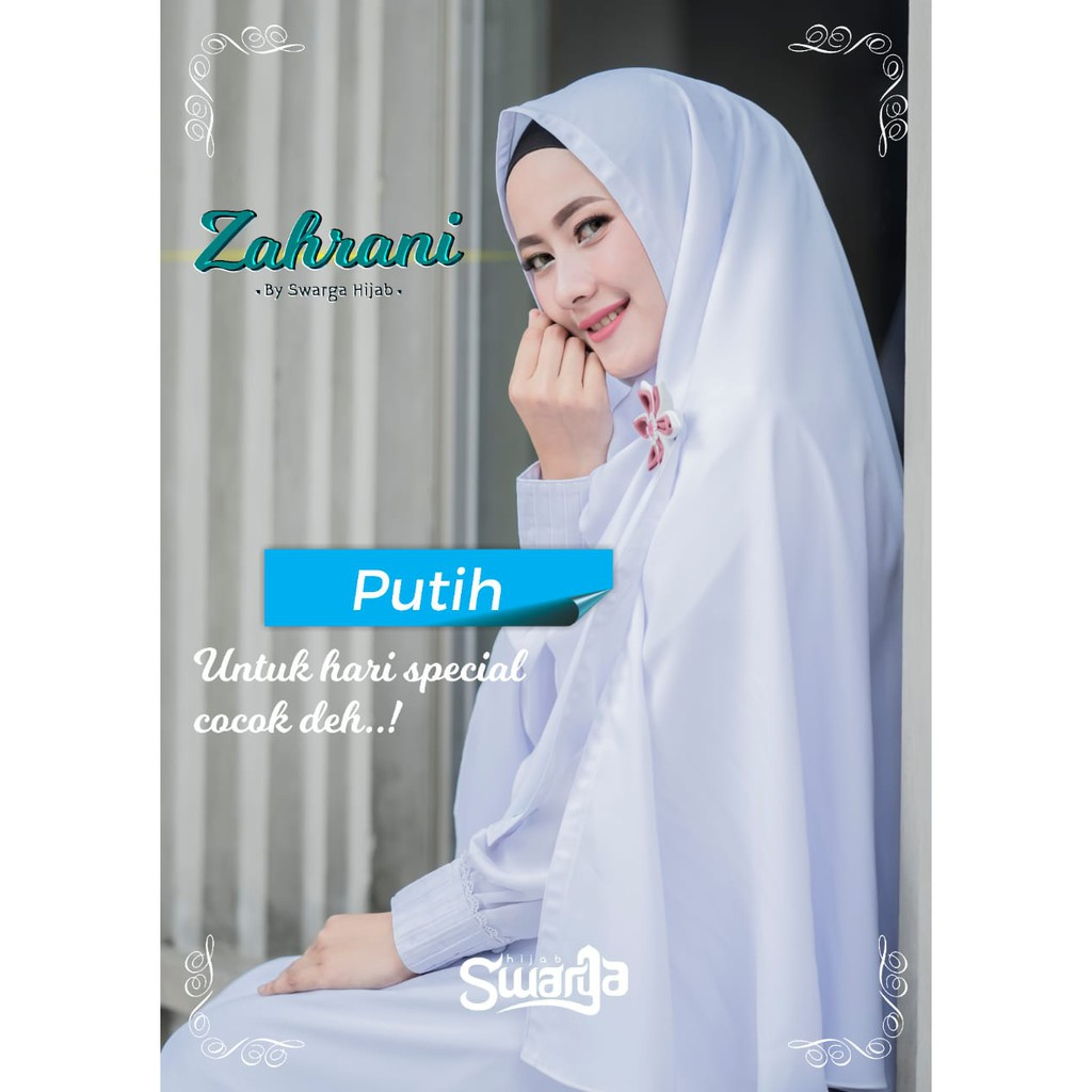 Gamis Syari Zahrani Set Putih Ori Swarga Hijab Shopee Indonesia