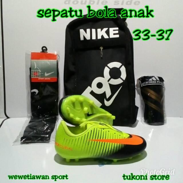 Paket komplit sepatu bola anak Nike terbaru+stelan Jersey 33-37 ... 297fe71599