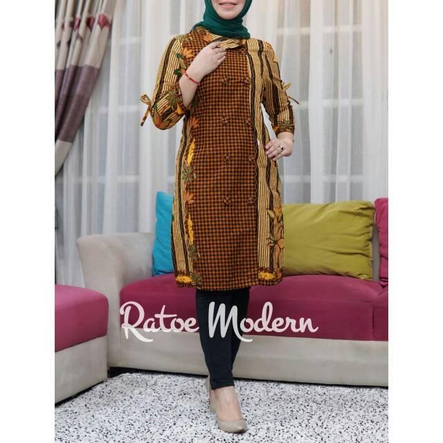 Tunik Batik Ratoe Modern Kode 030 Model Kancing 10 Bhn Katun Batik Mataram Fit To Size S Xxl