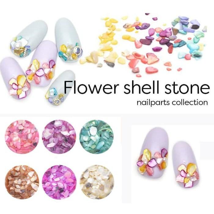 Nail Art Untuk Kulit Hitam: Manik Shell Stone Hiasan Kuku Kulit Kerang Nail Art Batu