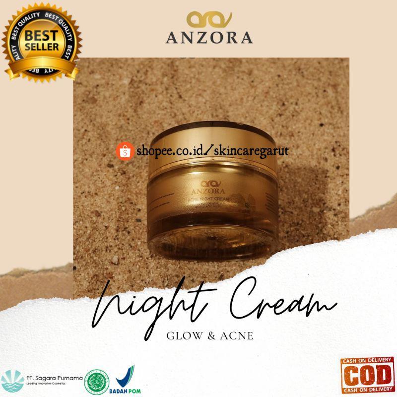 ECER NIGHT CREAM ANZORA GLOW ACNE / CREAM MALAM ANZORA / AMAN BPOM