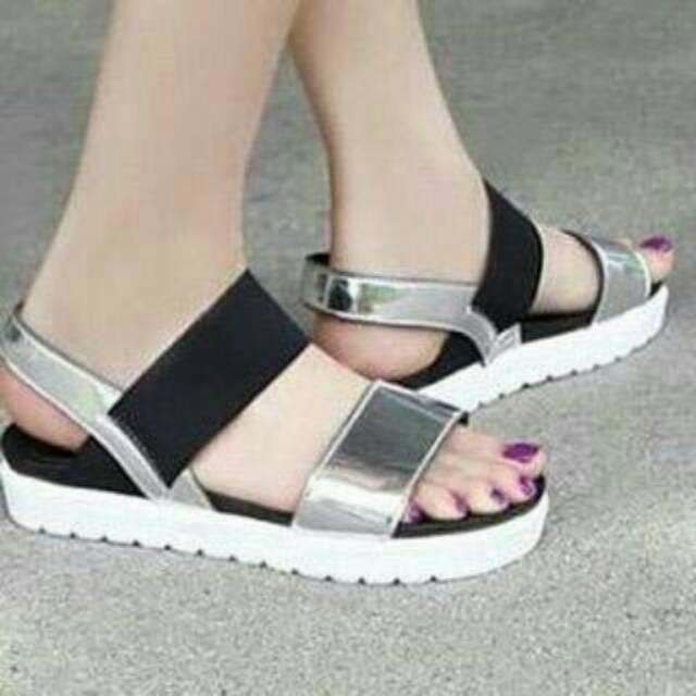Sandal karet silver  4f8b074a89