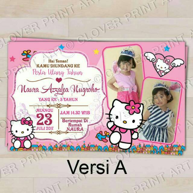 Isi 10 Kartu Undangan Ulang Tahun Birthday Invitation Hello Kitty Shopee Indonesia
