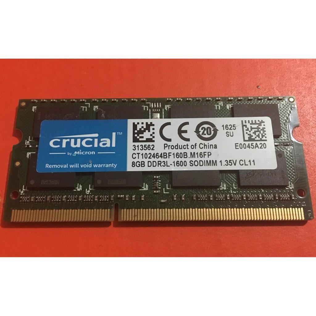 1x8GB Crucial 8GB 1600 SODIMM 1.35V DDR3 New DDR3L CT102464BF160B NEW