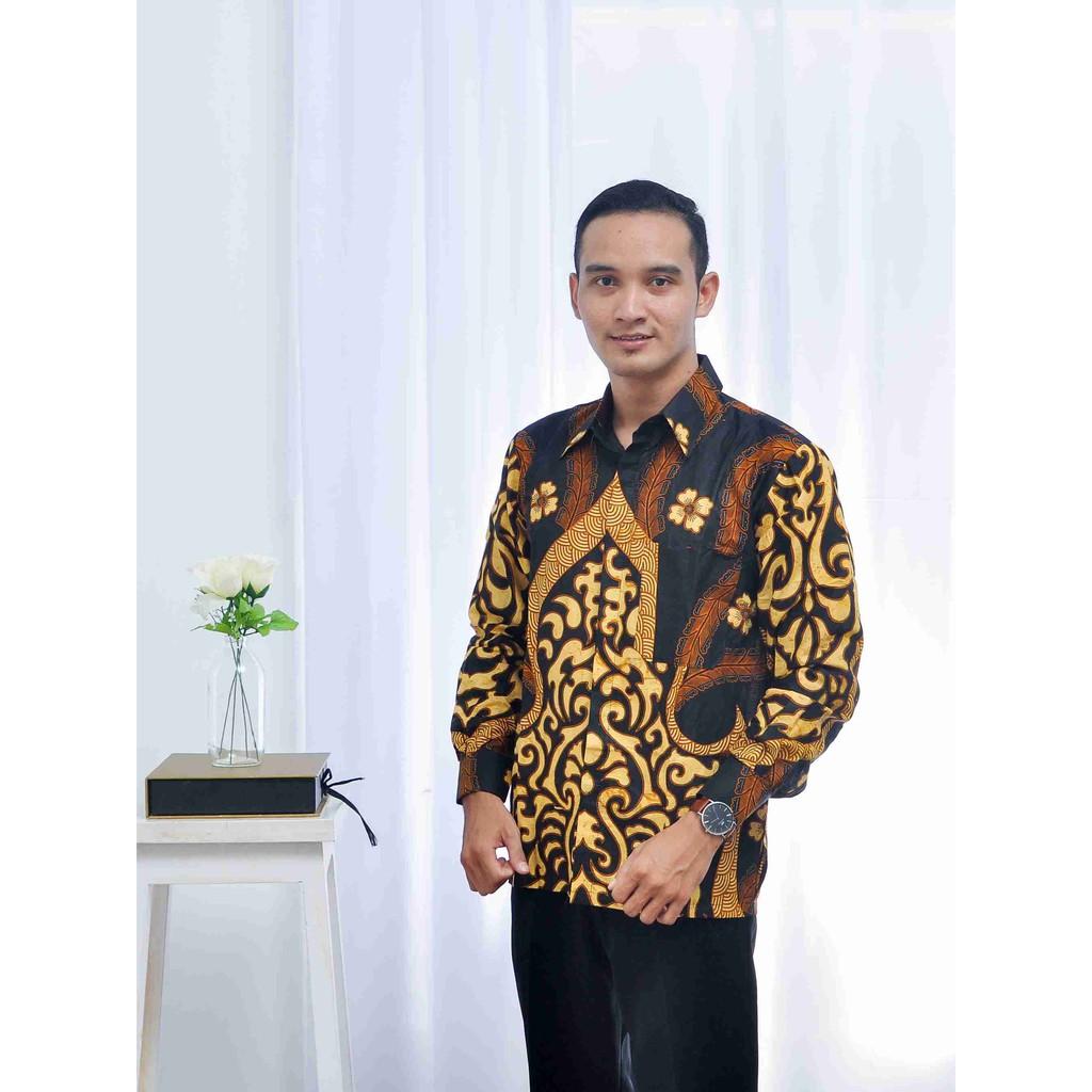 Kemeja Pria Lengan Panjang Motif Mustika Seragam Batik Baju Batik