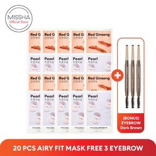 PAKET MISSHA AIRY SHEET MASK (10+10 pcs) FREE Eyebrow Dark Brown (3 pcs) thumbnail