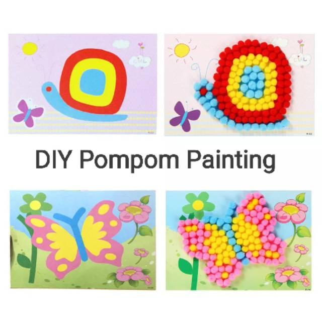 Mainan Kolase Menempel Diy Pompom Painting Shopee Indonesia