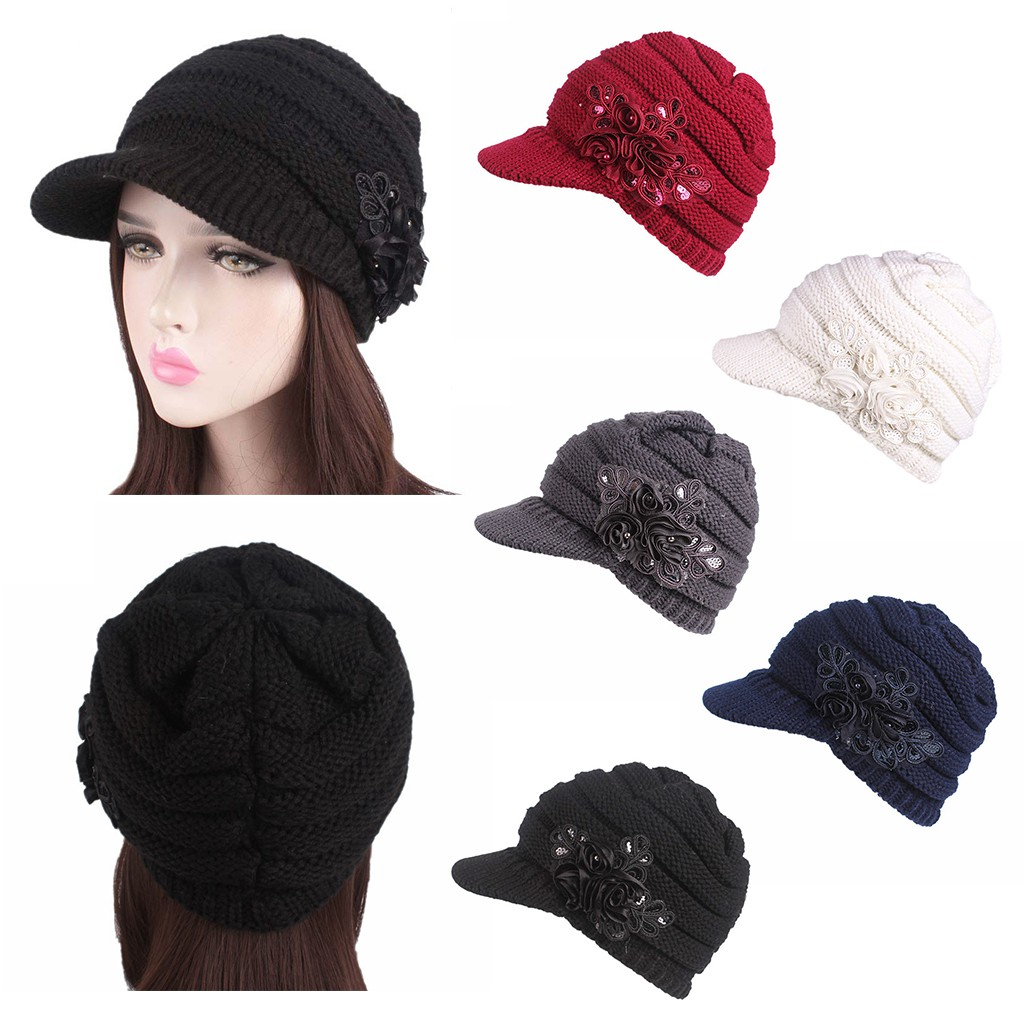 Womens Winter Warm Knitted Hats Berets Brim Sequins Applique Solid Color Cap New