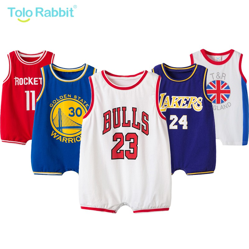 Baby Boys Girls Sleeveness Basketball Romper Jumpsuit Outfits Vest One-piece Top