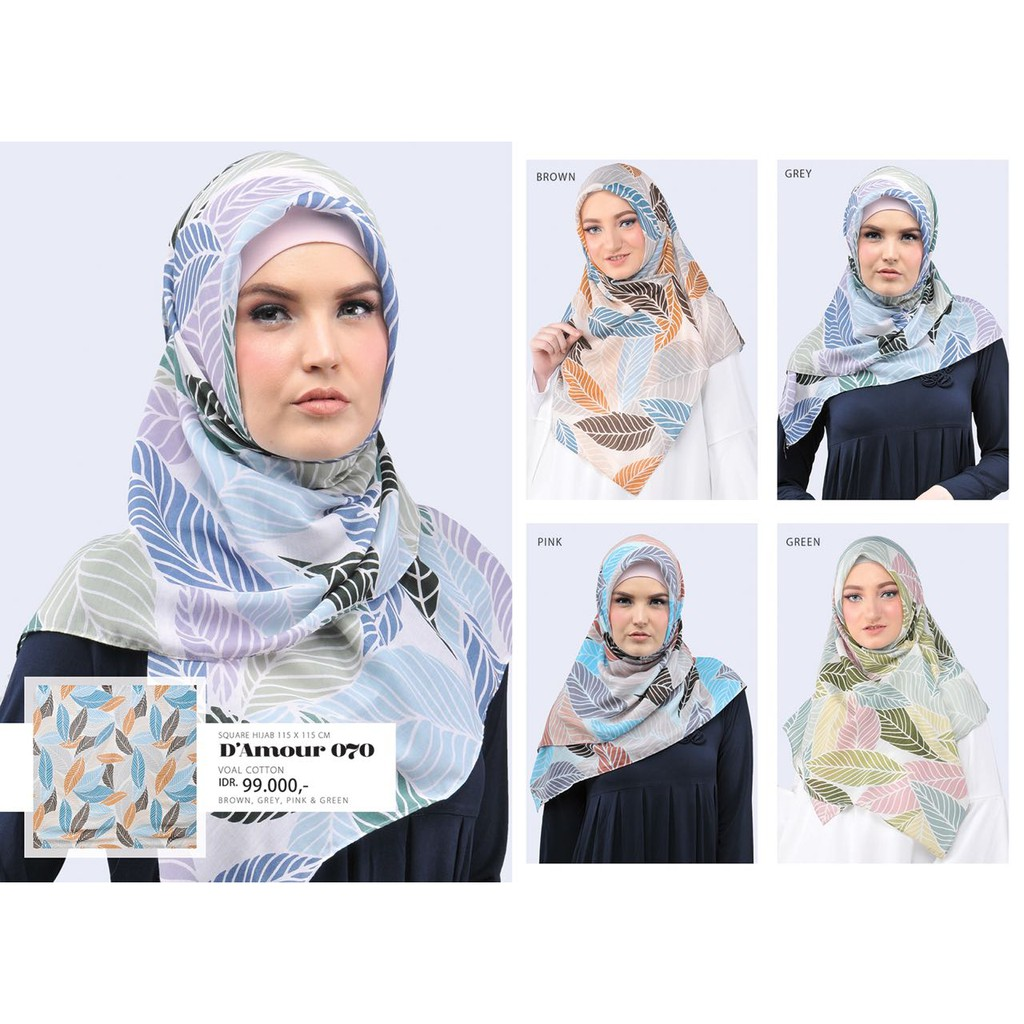 Tatuis Hijab Damour 029 Blue Kerudung Jilbab Square Shopee 072 Black Indonesia