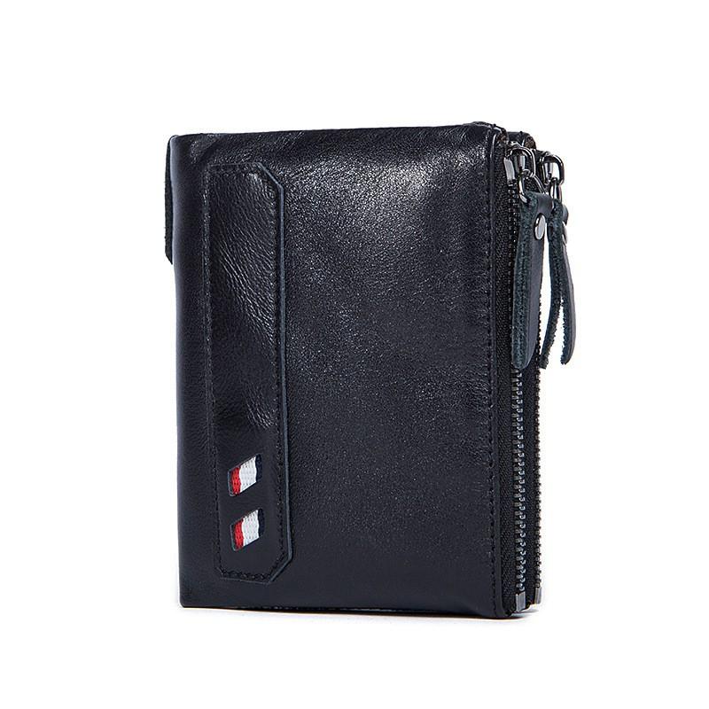 Genuine Leather Men Wallets Zipper Fashion Short Wallet Black ... 49637f35ce