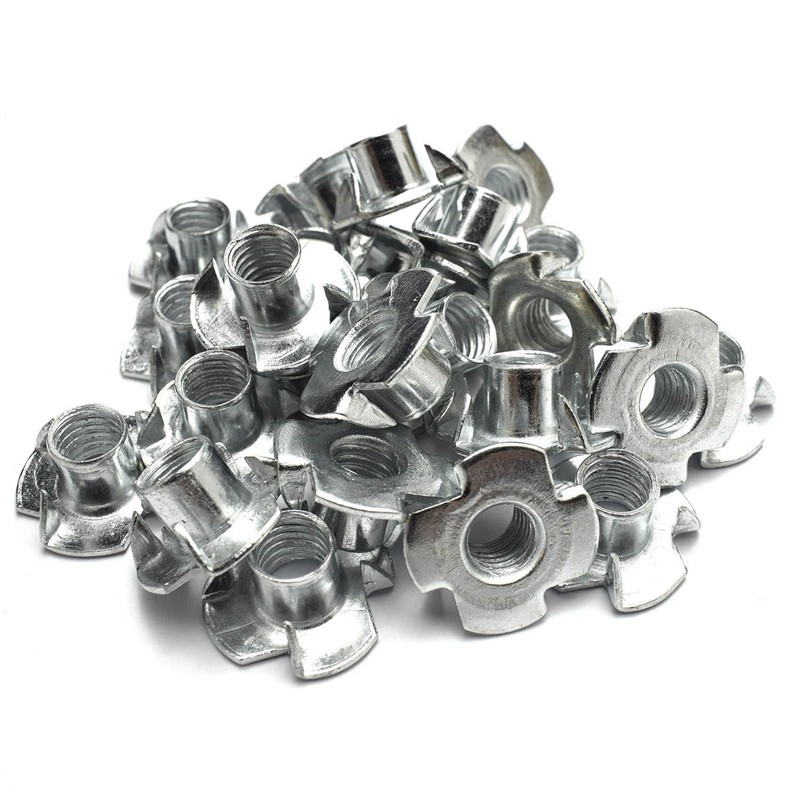 Steel Pack of 10 8mm x 17.5mm 4-Pronged Tee Nut M8