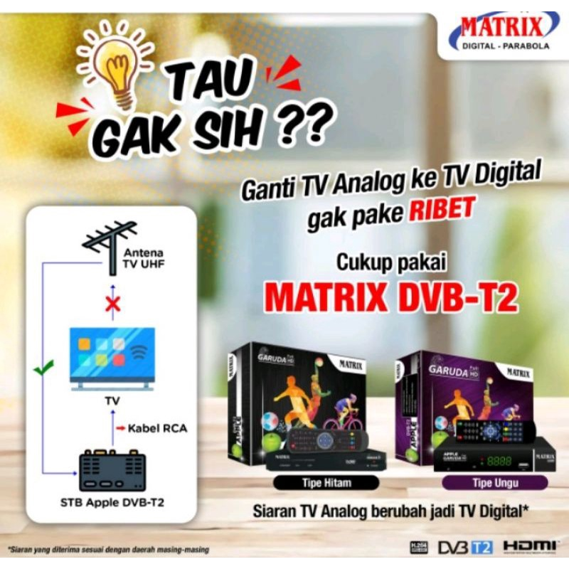 STB Set Top Box TV Digital DVBT2 Matrix Apple Garuda Receiver dekoder cocok buat tv tabung lcd led