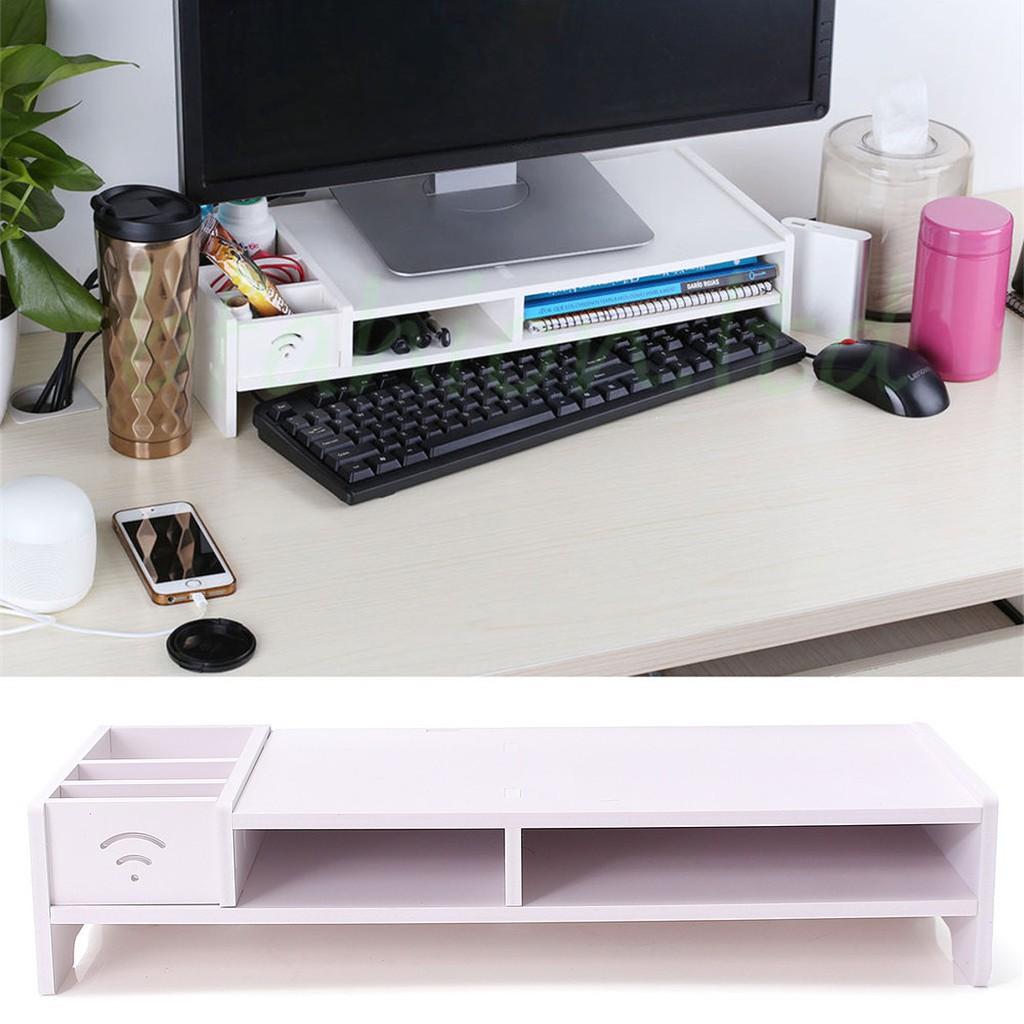 Desktop Computer Riser Stand TV LCD Screen Riser Monitor Mount Wood Shelf Plinth