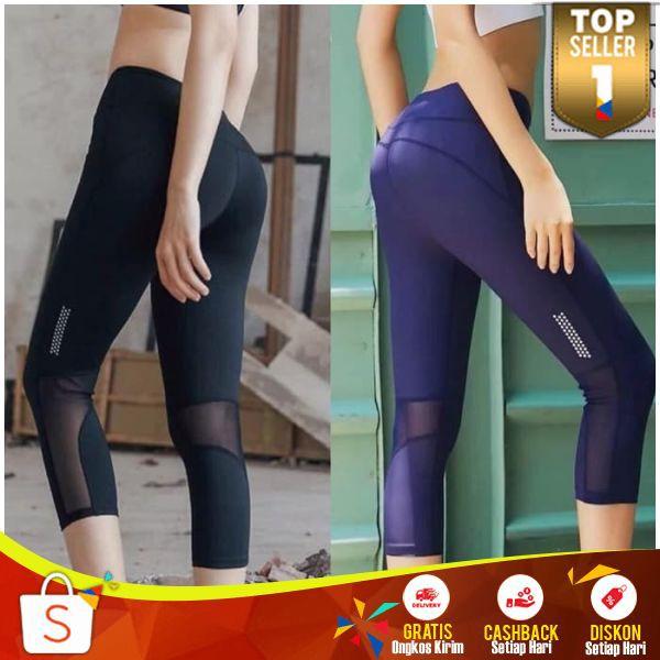 Celana Legging Wanita 3 4 Lengging Sport Import Cewek Leging Ketat Seksi Olahraga Senam Gym Murah Shopee Indonesia