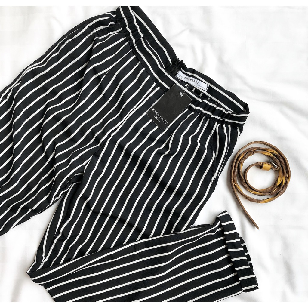 Cs Stripe Pants Zara Celana Shopee Indonesia Nagita List Side Hitam Merah Bahan Scuba