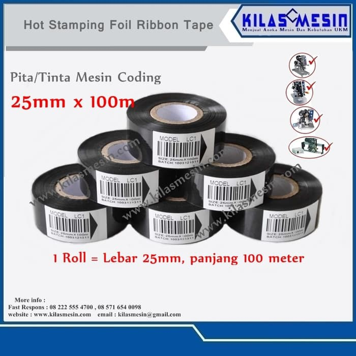 Tinta Coding Pita Cetak Expired Date Ribbon Tape 25 Mm X 100 M Lc1   Shopee Indonesia