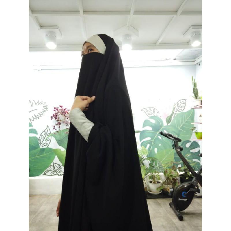 abaya maryam motif timbul embos hijab syari set