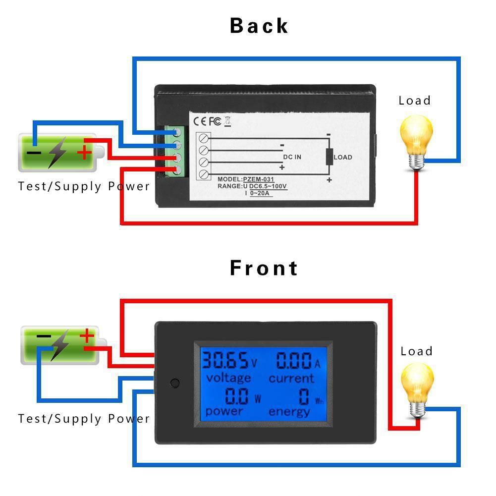 Pzem 031 Dc 20a 6 5 100v 4 In 1 Voltmeter Amperemeter Watt Meter