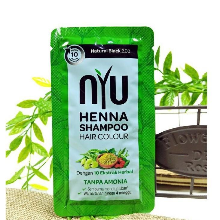 NYU   HENNA SHAMPOO HAIR COLOUR (CAT RAMBUT) 20ML-NATURAL BLACK