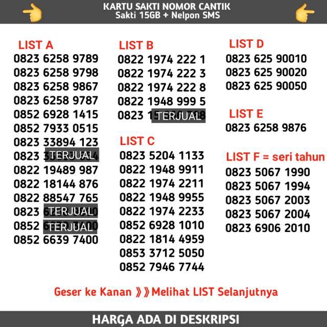 Kartu Sakti Nomor Cantik Telkomsel COMBO Mudah Di Hafal As simpati Loop (sudah 4G)