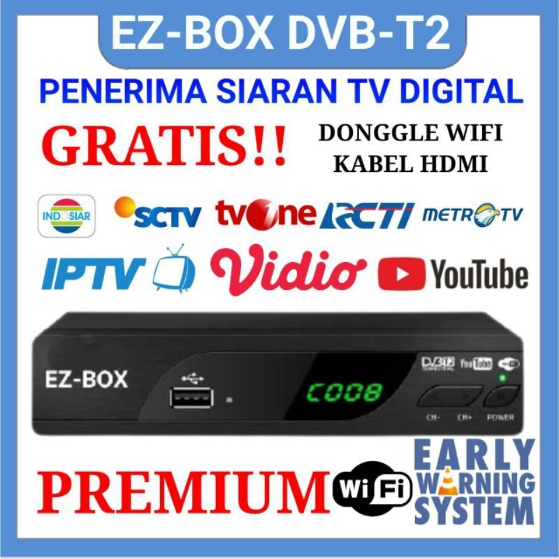 EZ-BOX SET TOP BOX DVB-T2 Penerima Siaran Televisi Digital FREE DONGLE WIFI